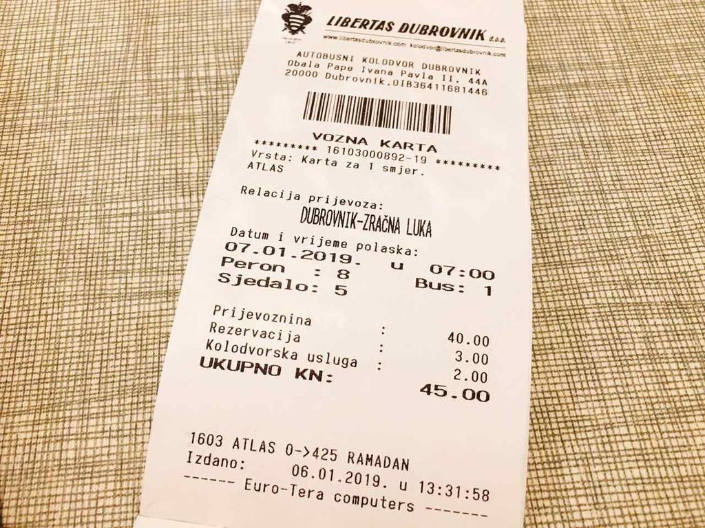 バスチケットの価格