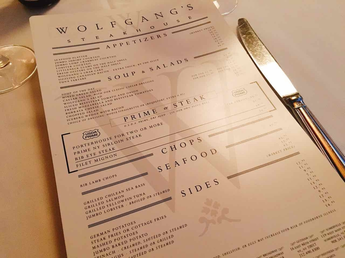 wolfgang's steakhouse メニュー