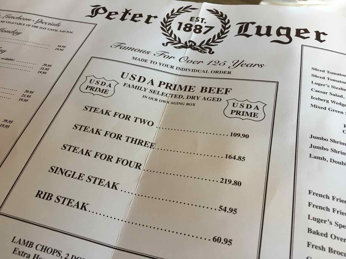 Peter Luger ピータールーガー メニュー