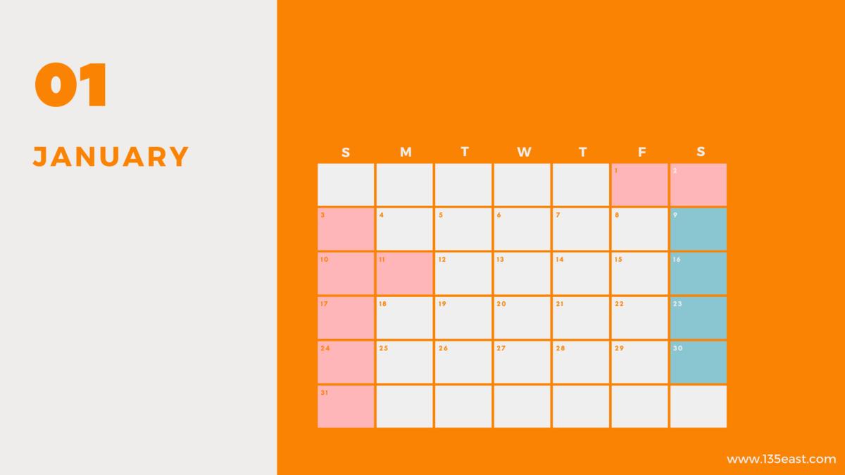 2021年1月・祝日カレンダー