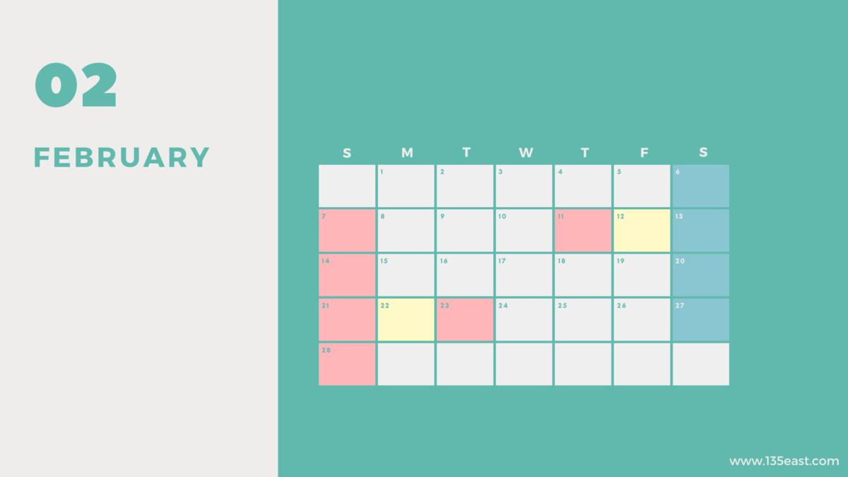 2021年2月・祝日カレンダー