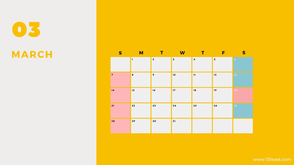 2021年3月・祝日カレンダー