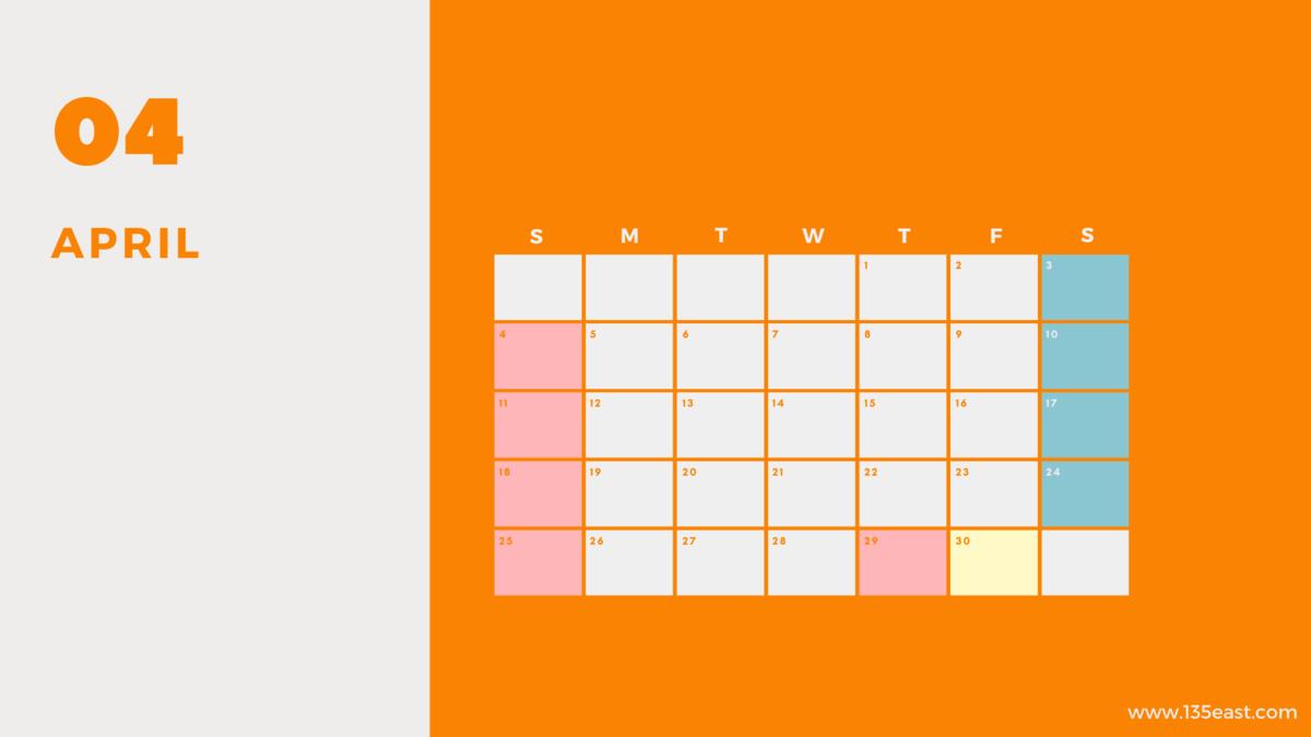 2021年4月・祝日カレンダー