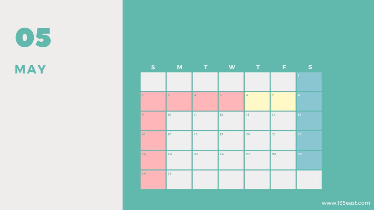 2021年5月・祝日カレンダー