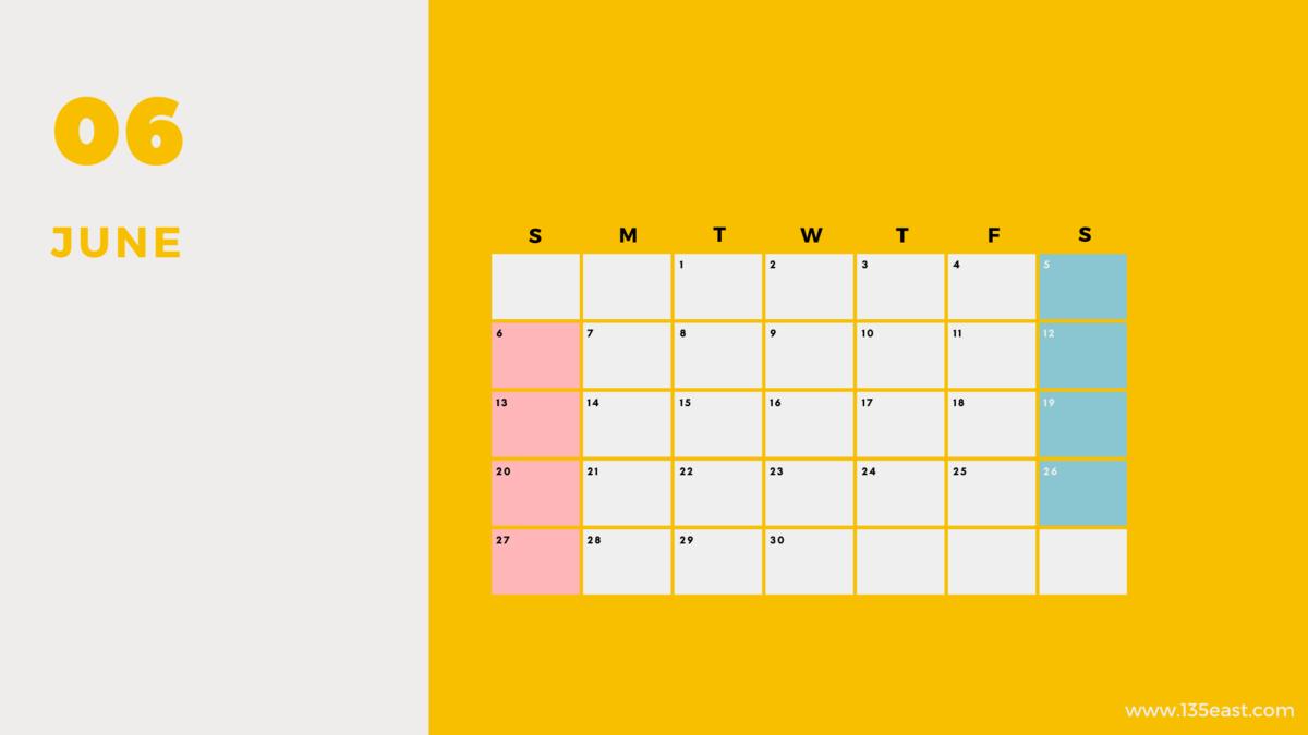 2021年6月・祝日カレンダー