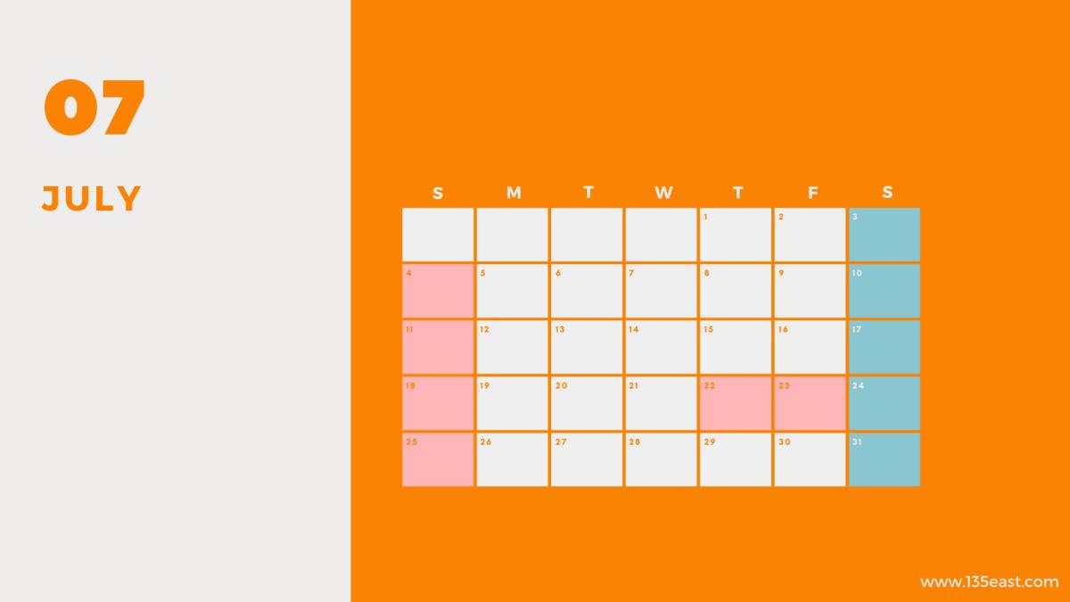 2021年7月・祝日カレンダー