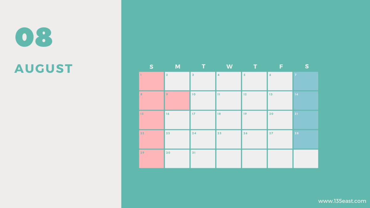 2021年8月・祝日カレンダー