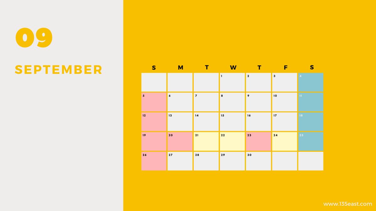 2021年9月・祝日カレンダー