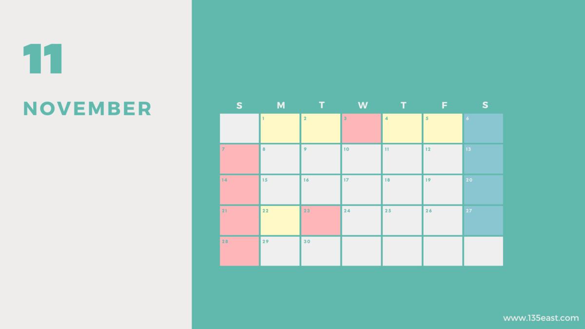 2021年11月・祝日カレンダー