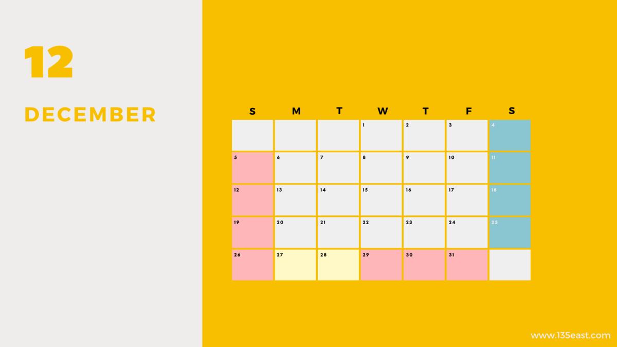 2021年12月・祝日カレンダー