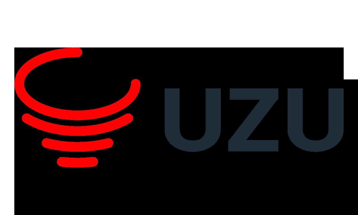 赤いロゴアイコンと濃い青のuzuという文字