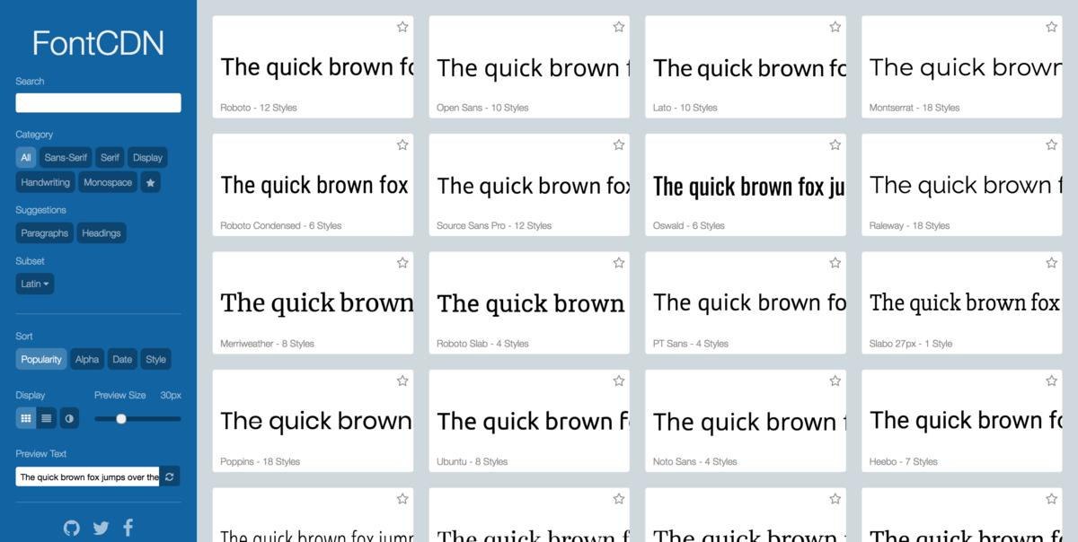 Google Fontsが無限スクロールで次から次へと閲覧可能なFontCDN