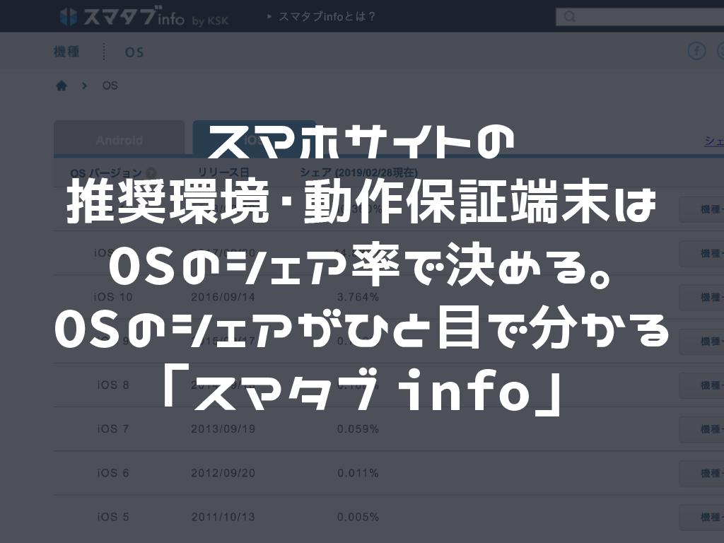 スマホサイトの推奨環境・動作保証端末はOSのシェア率で決める。OSのシェアがひと目で分かる「スマタブinfo」