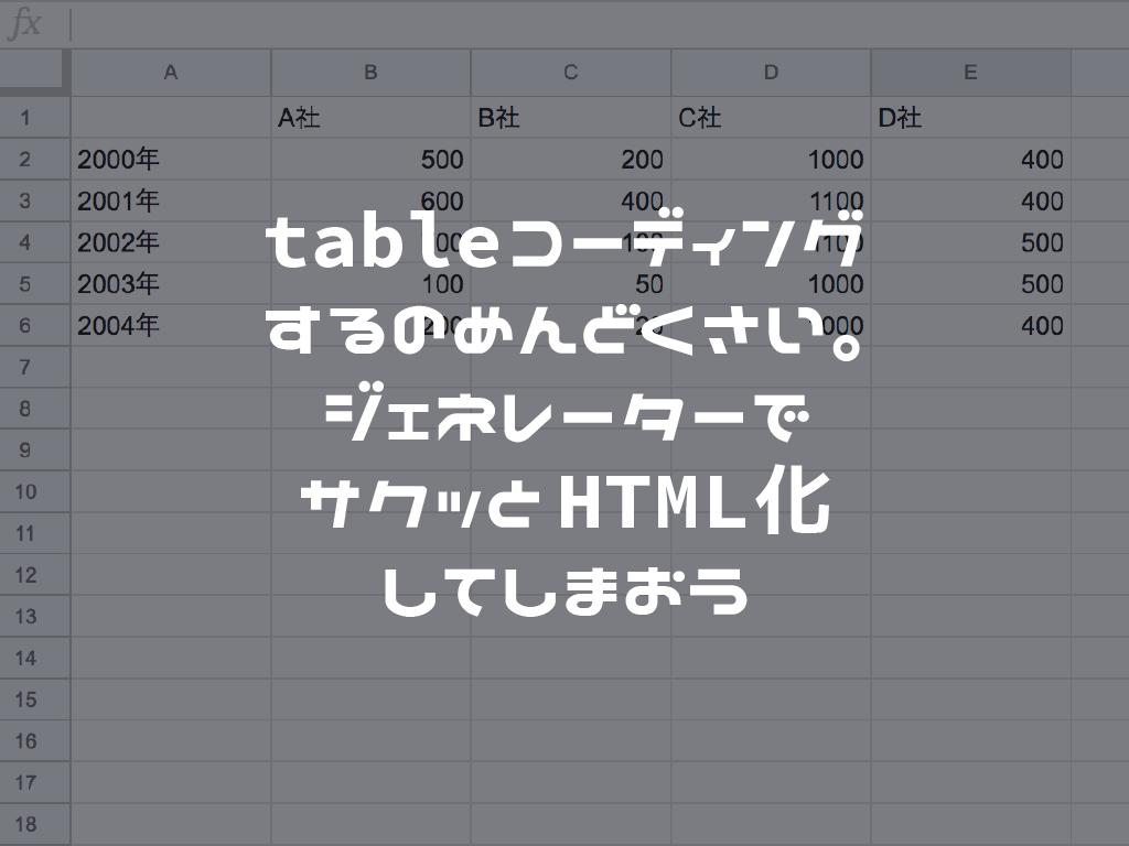tableコーディングするのめんどくさい。ジェネレーターでサクッとHTML化してしまおう