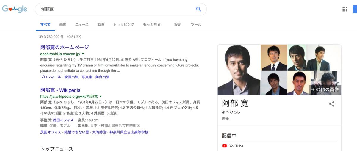 人物を検索するとWikipediaの情報が表示される