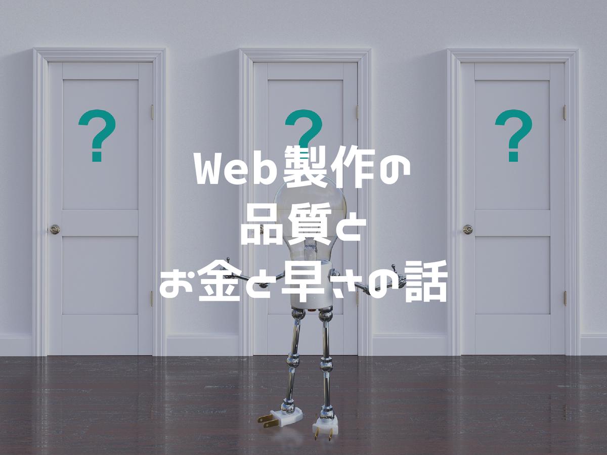 Web製作の品質とお金と早さの話