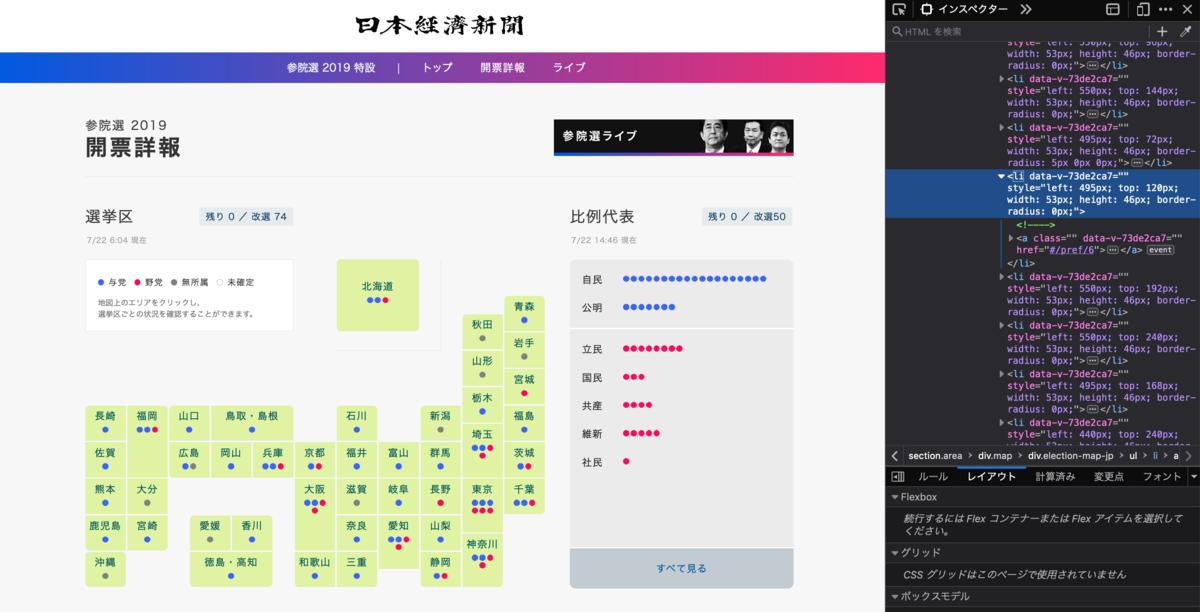 日経のPC選挙特設サイトの日本地図