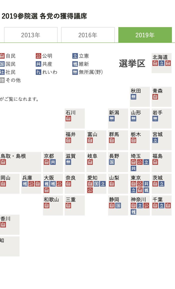 朝日新聞デジタルのスマホ選挙特設サイトの日本地図
