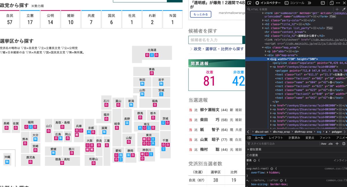 毎日新聞のPC選挙特設サイトの日本地図