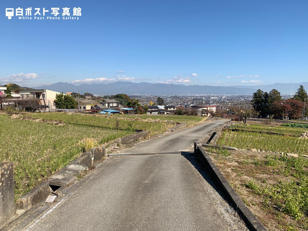 富士川町市街地を見下ろす