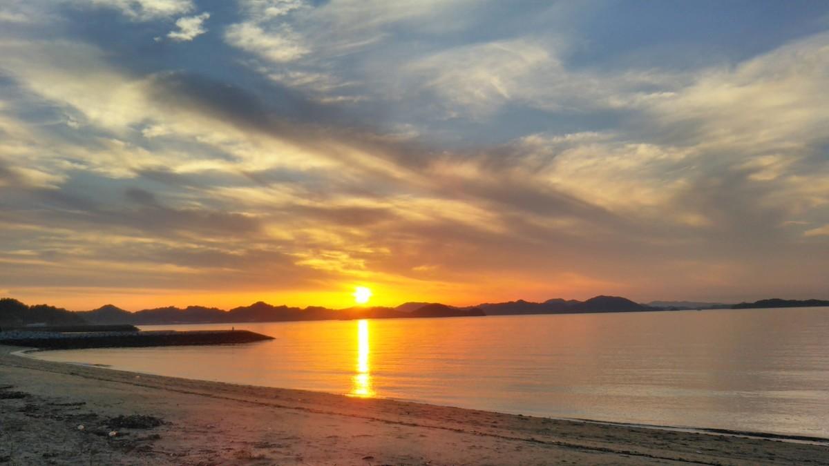 堀江海水浴場の夕陽