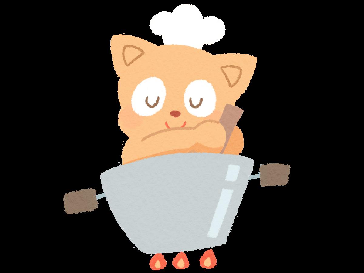 イラスト_猫のシェフが料理中