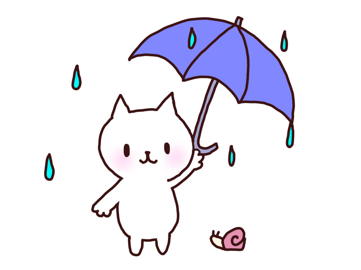 イラスト_猫が傘をさしてカタツムリが下にいる