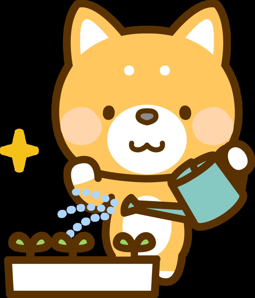 イラスト_犬がジョウロを持って植物に水やりしている