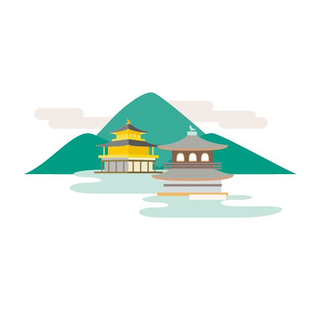 イラスト_京都の金閣寺と銀閣寺のイラストの裏に山が描かれている