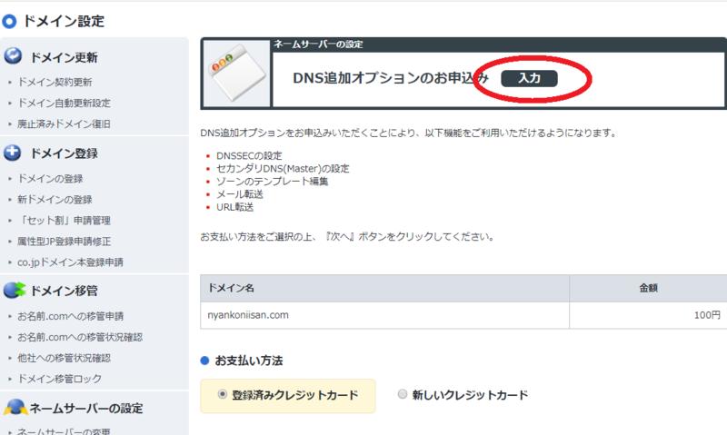 画面:お名前ドットコム DNS追加オプション設定 申込