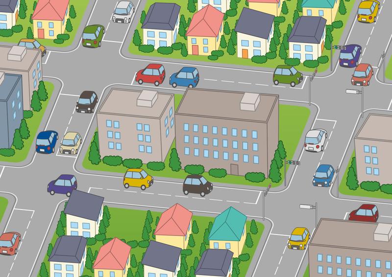 駐車場をでる(イラスト:ぷにぷにさん)