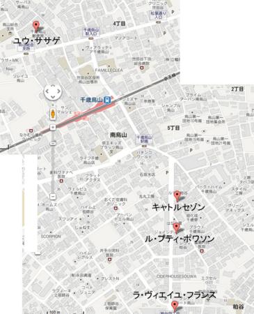 千歳烏山ケーキツアー地図
