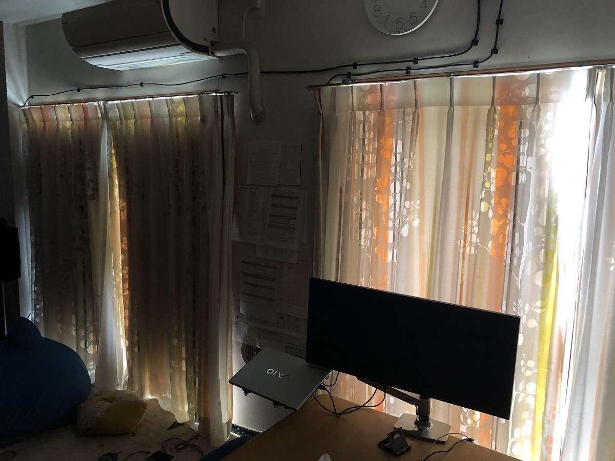 取り付け後の遮光の比較