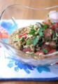 冷製豆のポタージュスープにサラダトッピング