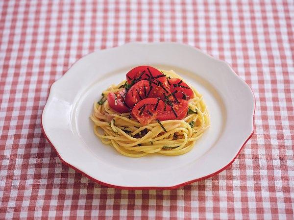 トマトのしそたらこパスタ 調理時間:5分