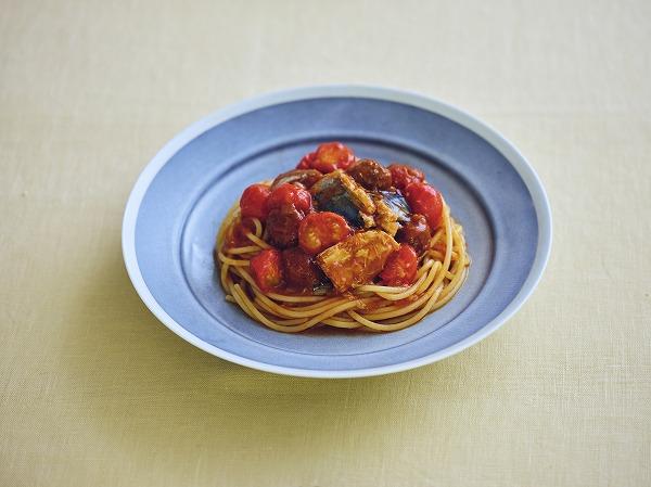 トマト鯖パスタ 調理時間:10分