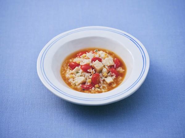 ミニトマトのチーズリゾット 調理時間:7分