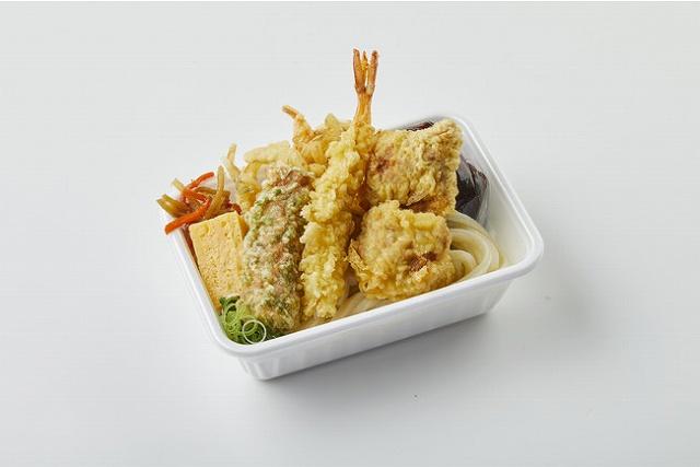 4種の天ぷらと定番おかずのうどん弁当