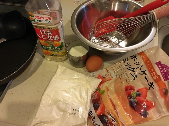 ホットケーキを作る為の材料