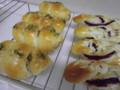 ツナマヨ入り竹輪コルネ&紫芋の編みパン