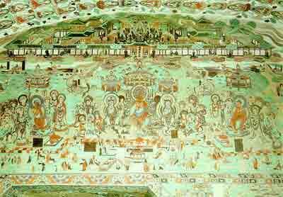 敦煌莫高窟第148窟南壁上部的《彌勒下生經變》 盛唐