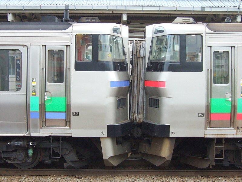 EC/DC併結(15)キハ201系(D-103)に731系(G-116)から幌を引き延ばす/小樽駅080728