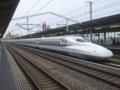 [鉄道][新幹線]こだま637号(100系K55編成)を追い抜くN700系のぞみ59号/西明石駅2008.11