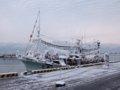[風景]★246:八戸・湊日曜朝市/八戸港-雪に覆われた漁船081214
