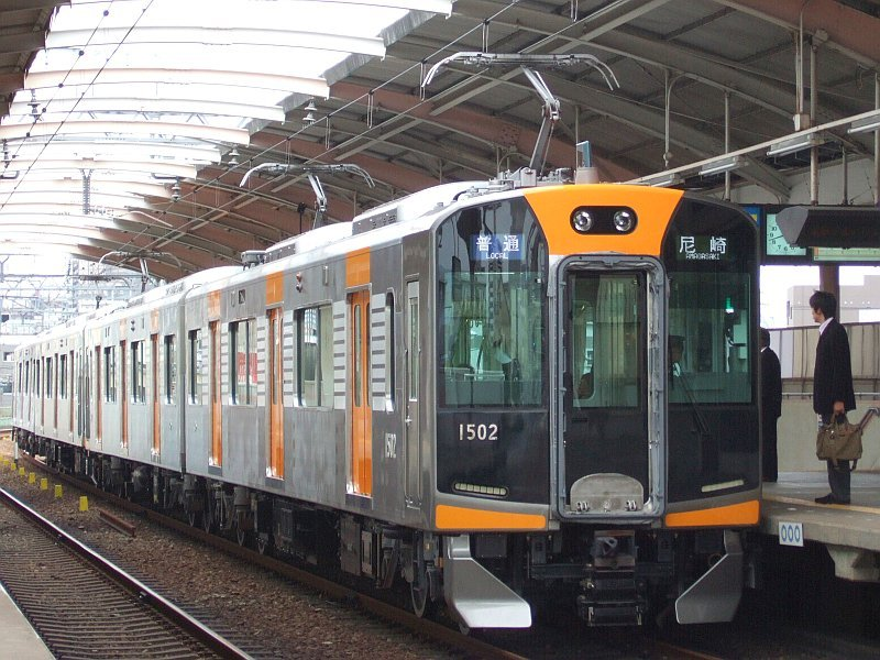 阪神1000系1502F(Mc1502側)+1501F/千鳥橋駅到着2007.10