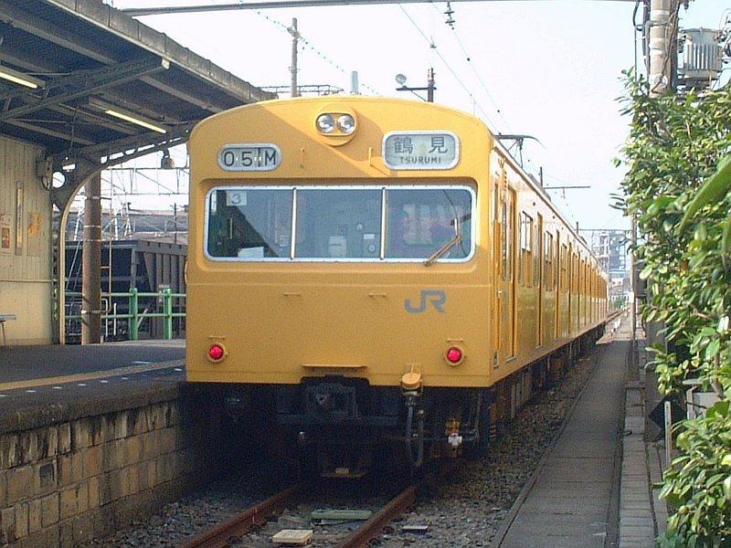 ★鶴見線・扇町駅-クモハ103-131(中原T3編成)駅入口から:2003年5月