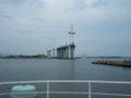 [風景][船]☆401:富山県営渡船「海竜」から建設中の新湊大橋(越の潟側)090725