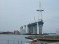 [風景][船]☆402:富山県営渡船「海竜」から建設中の新湊大橋(越の潟側)090725
