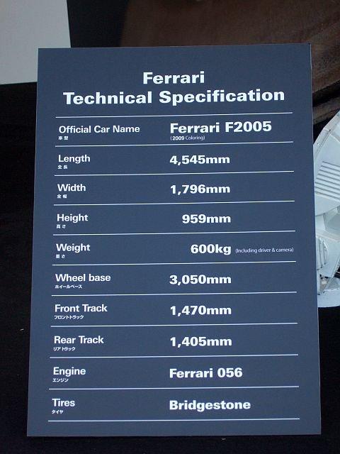 ★110:フェラーリF1展示車両スペック説明表示