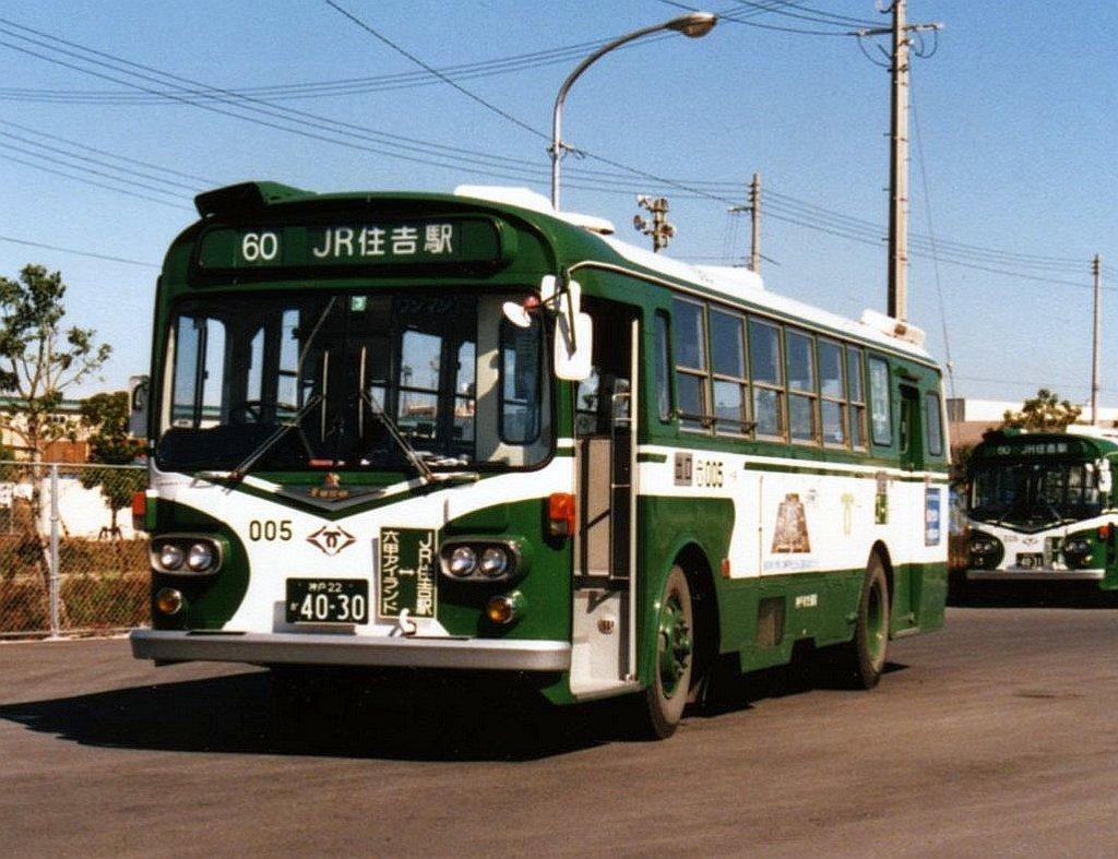 ★神戸市交通局60系統 三菱MR410(G4) 六甲アイランド東 1989.02<1024pix>